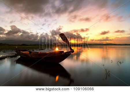 Fishing Boat Mooring At Lake In Morning