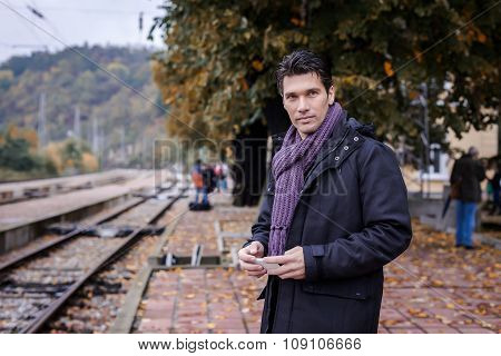 Handsome Man Traveller Waiting For The Train