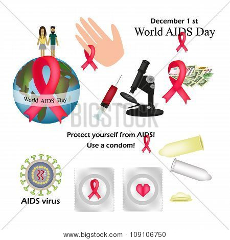 Set - World AIDS Day. Protect yourself from AIDS. Use a condom. The HIV virus. The test for HIV. Inf
