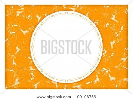 african animals with space for text, orange background