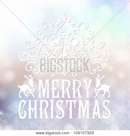 Merry Christmas congratulations card on blurry snowfall background.