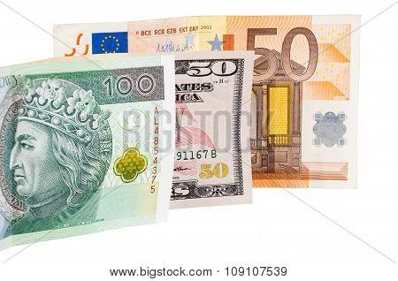 Banknotes Of Dollars Euro And Polish Zloty