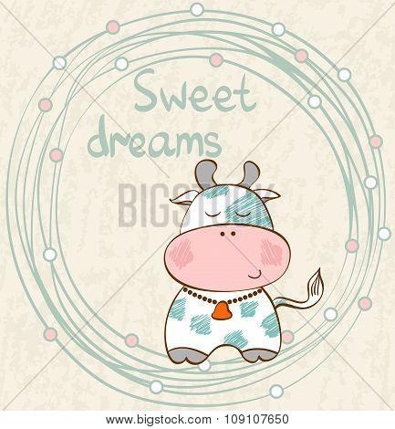 Vector sleeping cow