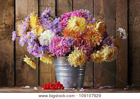 Still Life With A Bouquet Of Chrysanthemums.