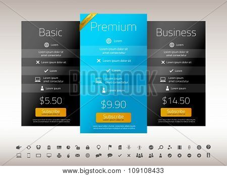 Modern Pricing List With 3 Options In Turquoise, Blue And Black Color. Set Of Icons Included