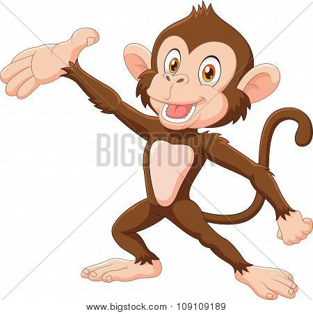Cartoon Happy monkey presenting isolated on white background