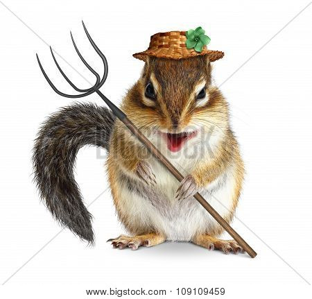 Funny Animal Farmer, Squirrel With Pitchfork And Hat Isolated On White