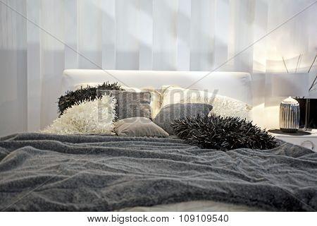 Luxury bedroom interior - evening shot