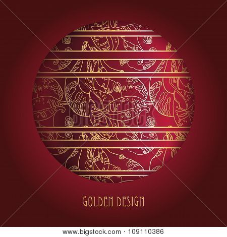 Circle design with golden lace ornament on deep red background.