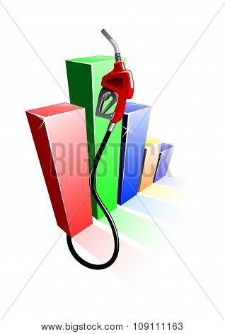 Bar graph of fuel prices with gas pump nozzle