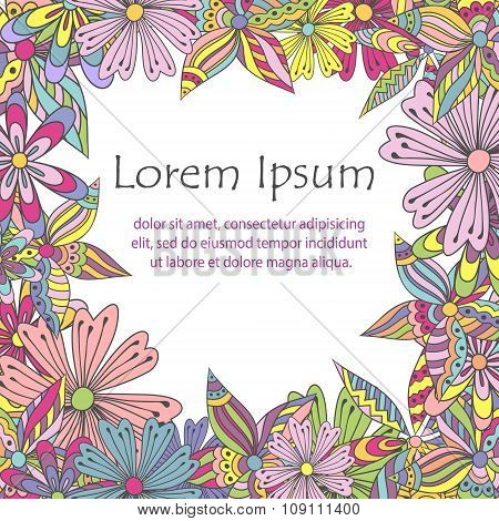 Colorful doodle flowers frame for your greeting/invitation card with space for text.