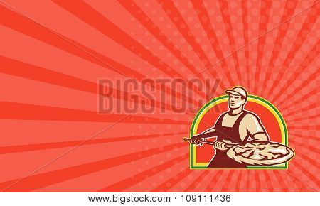 Business Card Baker Holding Peel With Pizza Pie Retro