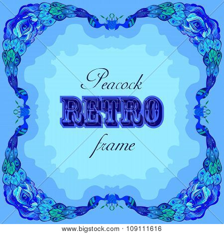 Blue frame with painted peacocks and retro label