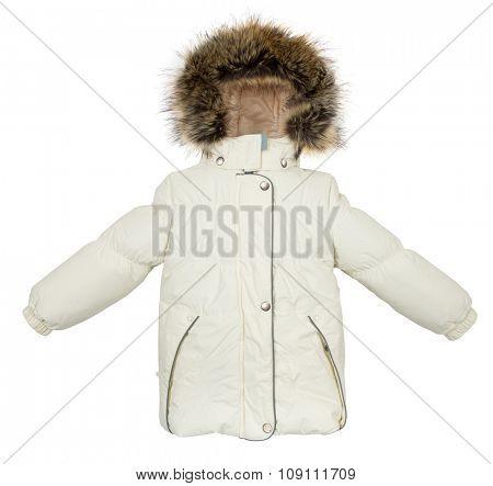 Childrens Women winter jacket isolated on white background.