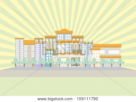 City With Building And Sun Ray Flat Design Soft Light Color Tone. Vector Illustration.