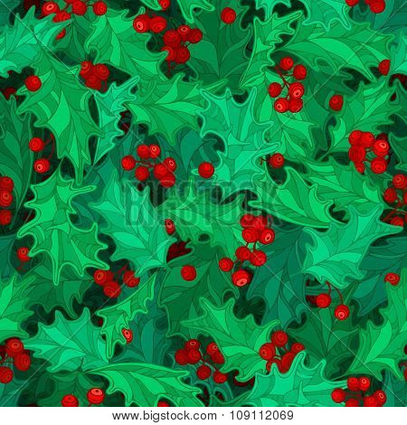 Christmas Holly Berries Seamless Pattern.