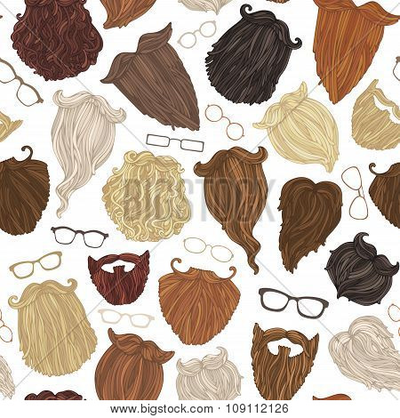 Seamless Pattern Of Hipster Beards And Eyeglasses.
