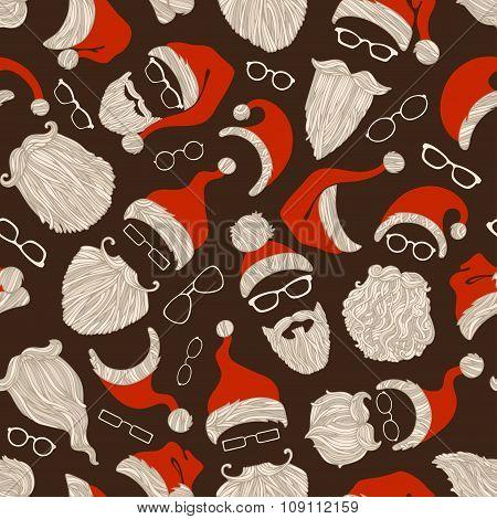 Seamless Christmas Pattern Of Santa Hats, Beards And Eyeglasses.