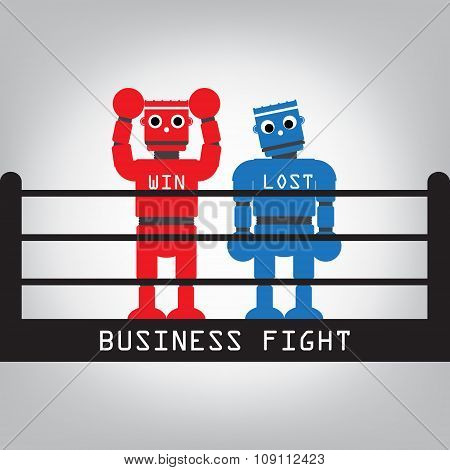 Robot Fight Win And Lost For Business Concept. Vector Illustration.