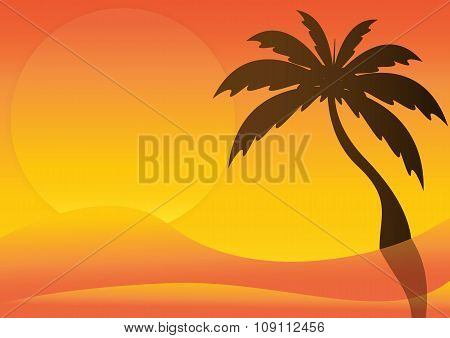 Silhouette Of Desert With Sunrise And Palm Tree. Vector Illustration.
