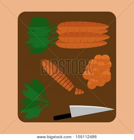 Carrot Sliced On Wood Butcher With Knife Top View. Vector Illustration.