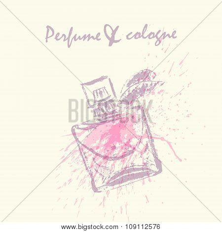 Vector Design With Perfume Bottle In Pink And Purple