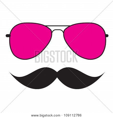 Cute Handdrawn Glasses and a Mustache Vector Illustration