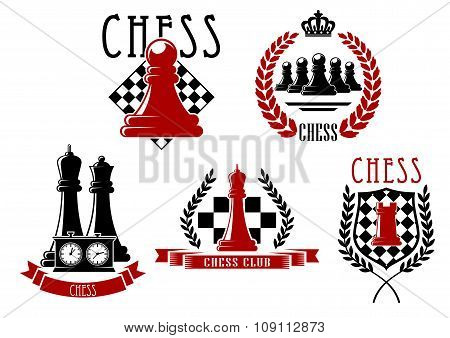 Chess game icons with boards, clock and pieces