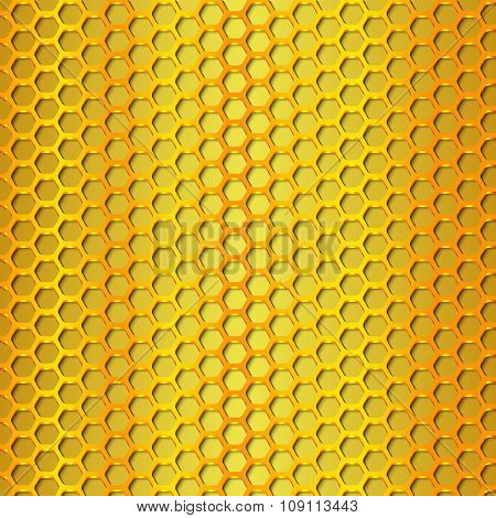 Gold Geometric Pattern Of Hexagons. Metal Background.