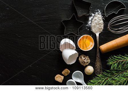 Christmas baking background, dark stone background