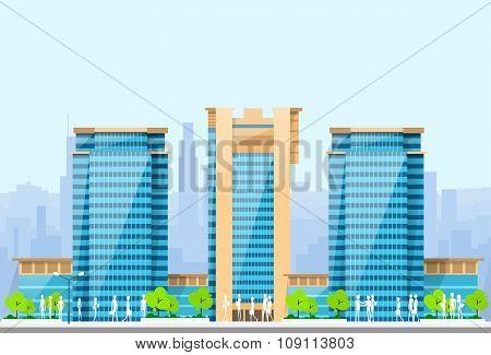 City Skylines Blue Illustration Architecture Modern Building Cityscape