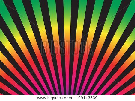 Rainbow Colors Of Sun Ray Style On Black Background. Vector Illustration.
