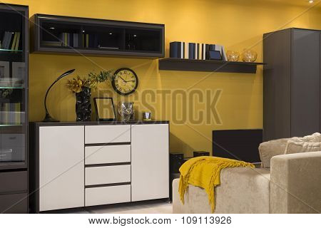 Interior Of yellow Student (teenager) Room - Back To School