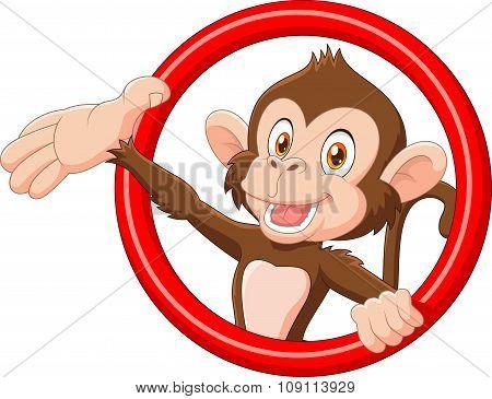 Cartoon funny monkey presenting