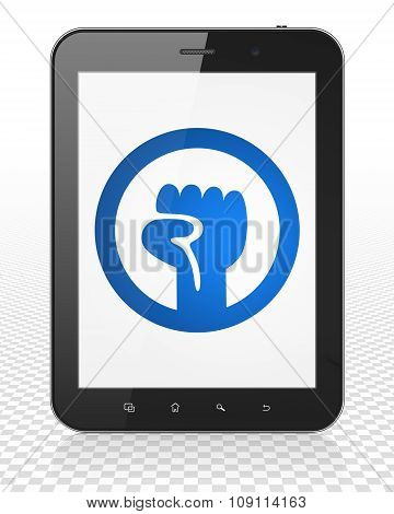 Politics concept: Tablet Pc Computer with Uprising on display