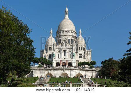 PARIS, FRANCE - SEPTEMBER 10, 2015: Basilica of the Sacre Coeur on Montmartre Paris France