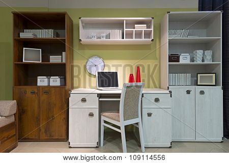 Interior Of Student (teenager) Room In The Evening - Back To School