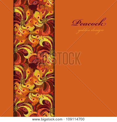 Golden orange and red peacock feathers. Vertical border design.