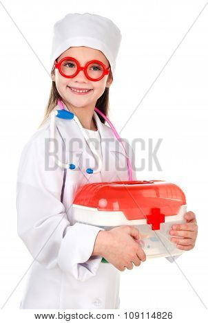 Adorable Smiling Little Girl Playing At The Doctor