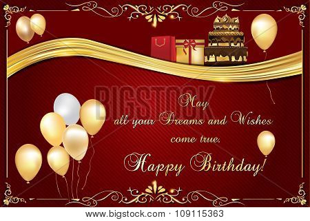 Elegant Birthday card, also for print