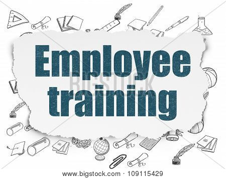 Learning concept: Employee Training on Torn Paper background