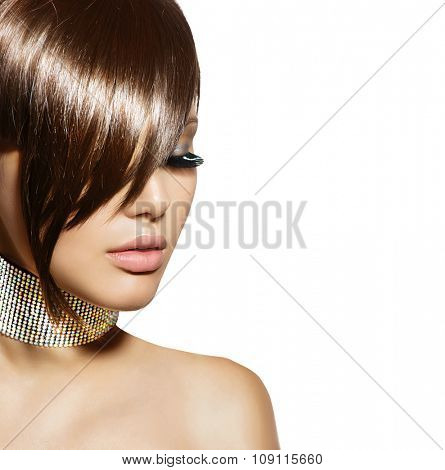 Fringe haircut. Fashion Beauty Girl. Gorgeous Brunette Woman Portrait. Stylish Haircut and Makeup. Hairstyle. Make up. Vogue Style. Sexy Glamour Girl