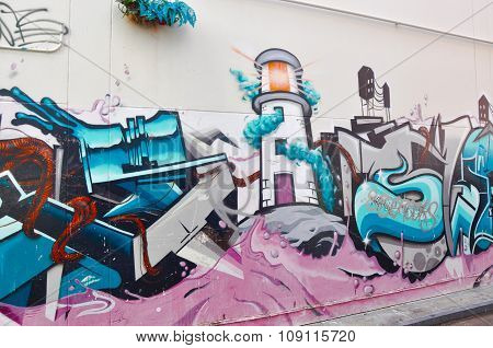 Custom Mural of Lighthouse in Perth, Western Australia