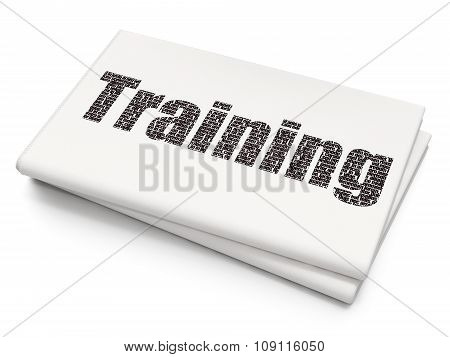 Learning concept: Training on Blank Newspaper background