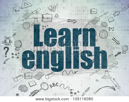 Education concept: Learn English on Digital Paper background