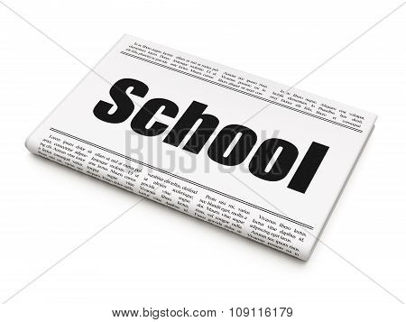 Education concept: newspaper headline School