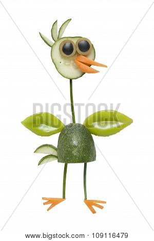 Funny Vegetable Bird Isolated Background