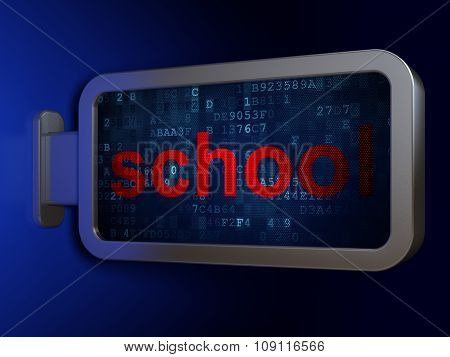 Studying concept: School on billboard background