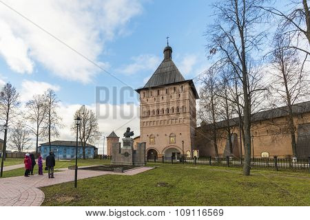 Suzdal, Russia -06.11.2015. Dmitry Pozharsky monument in square in front St. Euthymius monastery at