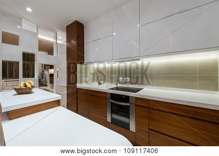 Kitchen Area In Specious Apartment